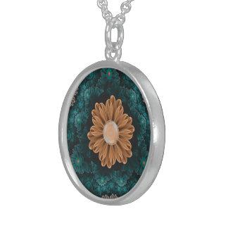 Beautiful Paradise Chrysanthemum of Orange & Aqua Sterling Silver Necklace