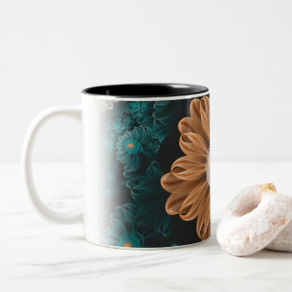 Beautiful Paradise Chrysanthemum of Orange & Aqua Two-Tone Coffee Mug