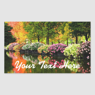 Beautiful Park Colourful Flowers Autumn Trees Pond Sticker