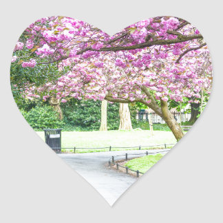 Beautiful park during the spring heart sticker