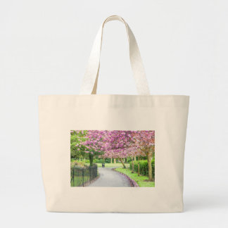 Beautiful park during the spring large tote bag