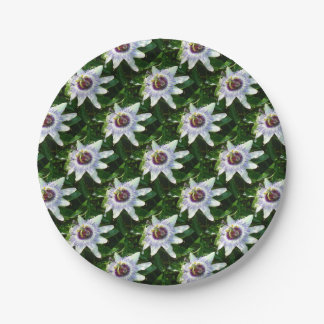 Beautiful Passion Flower With Garden Background Paper Plate