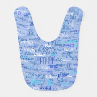 beautiful pattern of boy names in blue bib