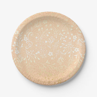 Beautiful Peach and Gold Floral Elegant Wedding Paper Plate