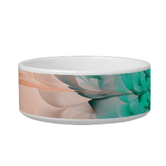 Beautiful Peach Blossom Turquoise Fractal Flower Bowl