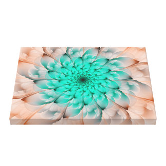 Beautiful Peach Blossom Turquoise Fractal Flower Canvas Print