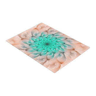 Beautiful Peach Blossom Turquoise Fractal Flower Doormat