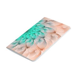 Beautiful Peach Blossom Turquoise Fractal Flower Journal