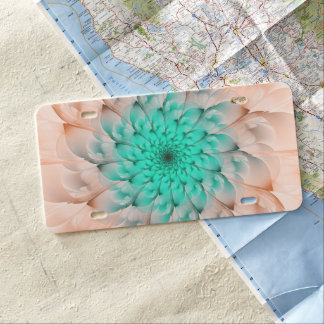 Beautiful Peach Blossom Turquoise Fractal Flower License Plate