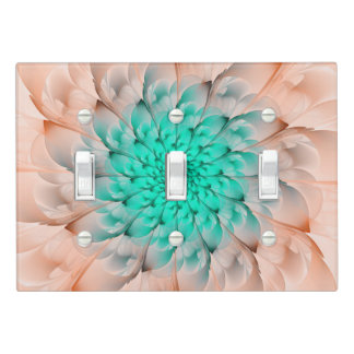 Beautiful Peach Blossom Turquoise Fractal Flower Light Switch Cover