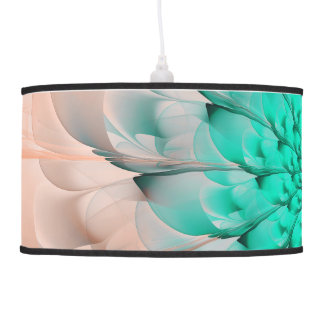 Beautiful Peach Blossom Turquoise Fractal Flower Pendant Lamp