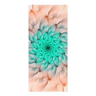 Beautiful Peach Blossom Turquoise Fractal Flower Rack Card