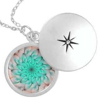 Beautiful Peach Blossom Turquoise Fractal Flower Sterling Silver Necklace