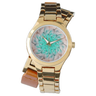 Beautiful Peach Blossom Turquoise Fractal Flower Watch