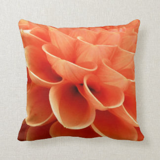 Beautiful Peach Colored Dahlia Flower Petals Throw Pillow