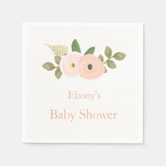 Beautiful Peach Floral Baby Shower Napkin Paper Napkins