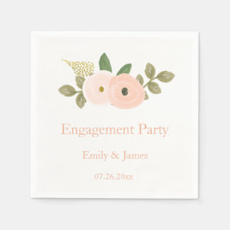Beautiful Peach Floral Engagement Party Napkin Disposable Napkin