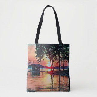 Beautiful Peach Sunset Water Reflections Tote Bag
