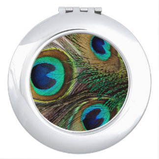 Beautiful Peacock Feather Compact Mirror