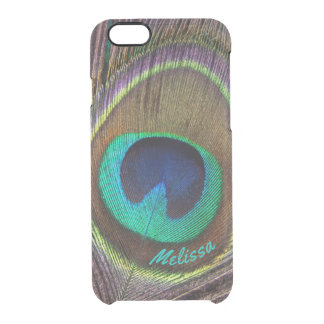 Beautiful Peacock Feather Eye, Your Name Clear iPhone 6/6S Case