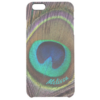 Beautiful Peacock Feather Eye, Your Name Clear iPhone 6 Plus Case