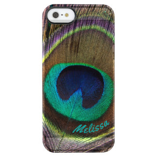 Beautiful Peacock Feather Eye, Your Name Clear iPhone SE/5/5s Case