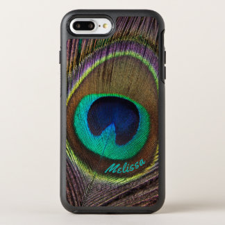 Beautiful Peacock Feather Eye, Your Name OtterBox Symmetry iPhone 8 Plus/7 Plus Case