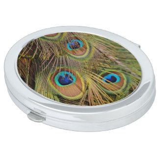 Beautiful Peacock Feathers Compact Mirror