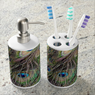 Beautiful Peacock Feathers Soap Dispenser And Toothbrush Holder