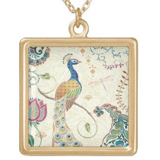 Beautiful Peacock Square Pendant Necklace