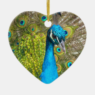 Beautiful Peacock Stunning Green Bird Ceramic Heart Ornament