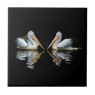 Beautiful pelicans reflection on black background ceramic tiles