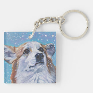 Beautiful Pembroke Welsh Corgi Fine Art Double-Sided Square Acrylic Keychain