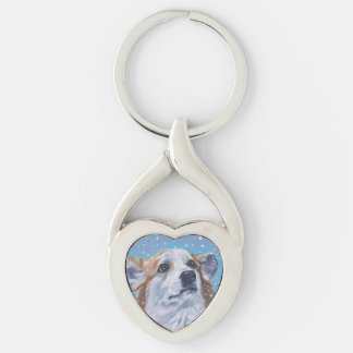 Beautiful Pembroke Welsh Corgi Fine Art Silver-Colored Twisted Heart Keychain
