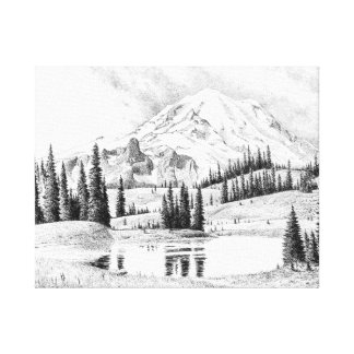 Beautiful Pencil Drawing of Mount Rainier Canvas Print