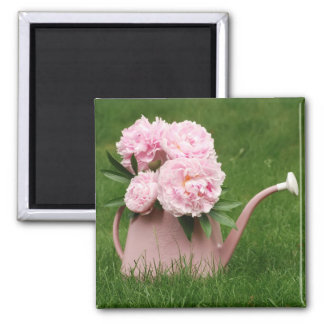 Beautiful peonies in a watering can magnet