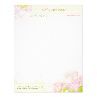 Beautiful Peony Business or Personal Letterheads Personalized Letterhead