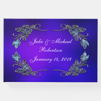 Beautiful Personalized Butterfly Faux Filigree Guest Book