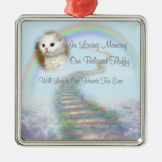 Beautiful Personalized Cat or Dog Memorial Silver-Colored Square Ornament