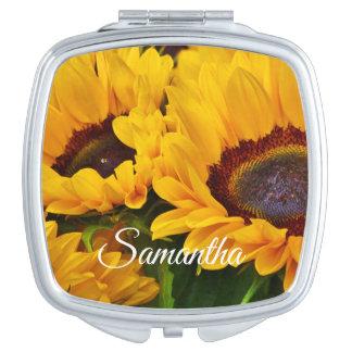 Beautiful Personalized Orange Yellow Sunflower Compact Mirrors