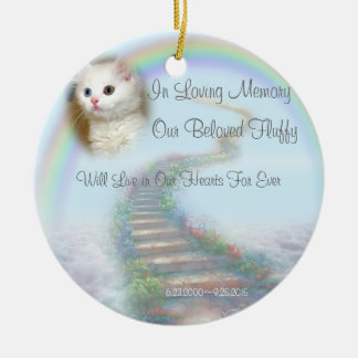 Beautiful Personalized Pet Memorial with Prayer Round Ceramic Ornament