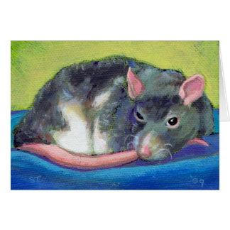 Beautiful pet rat art watchful guardian painting card