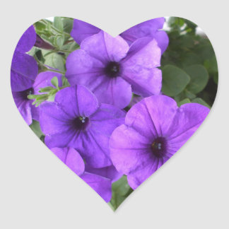 Beautiful Petunias Heart Sticker