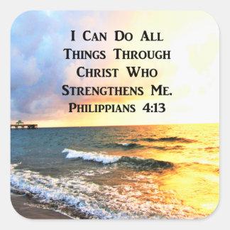BEAUTIFUL PHILIPPIANS 4:13 SCRIPTURE PHOTO SQUARE STICKER