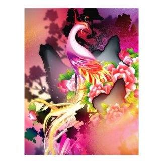 beautiful phoenix bird colourful background image personalized letterhead