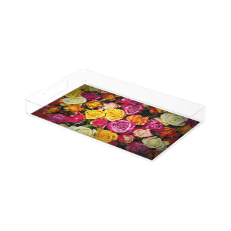 Beautiful Photo Collage Flowers Tray