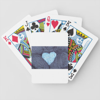 Beautiful photograph of blue wool heart bicycle playing cards