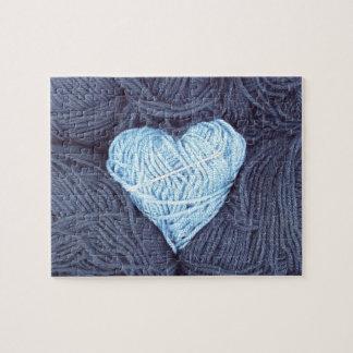 Beautiful photograph of blue wool heart jigsaw jigsaw puzzle