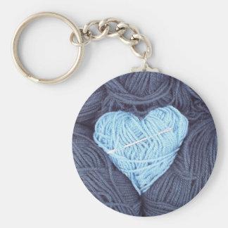 Beautiful photograph of blue wool heart keychain