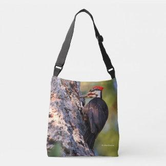 Beautiful Pileated Woodpecker on the Tree Crossbody Bag